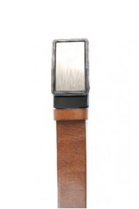 Cinturón de piel marrón con...